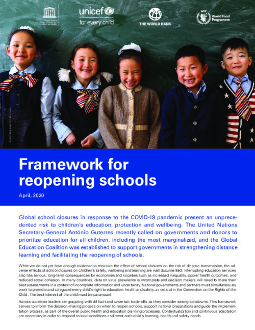 Framework for reopening schools
