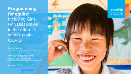Programming for equity: Including girls with disabilities in the return to school post-COVID-19