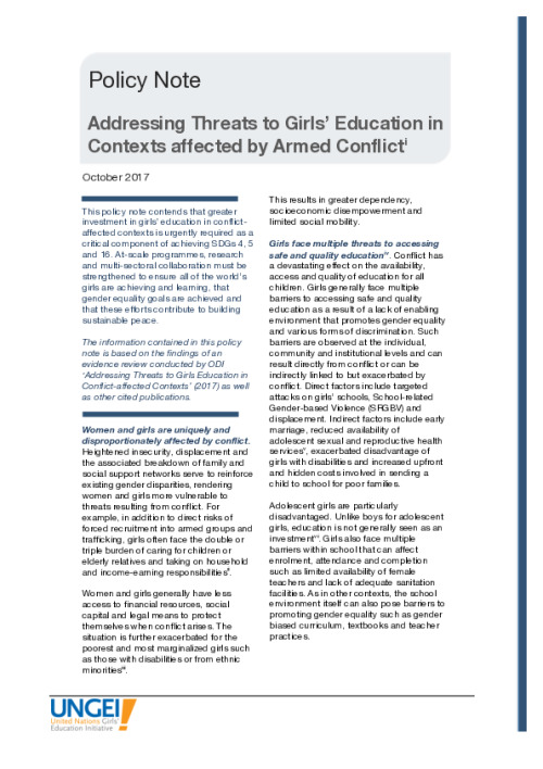 Addressing threats to girls' education in contexts affected by armed conflict