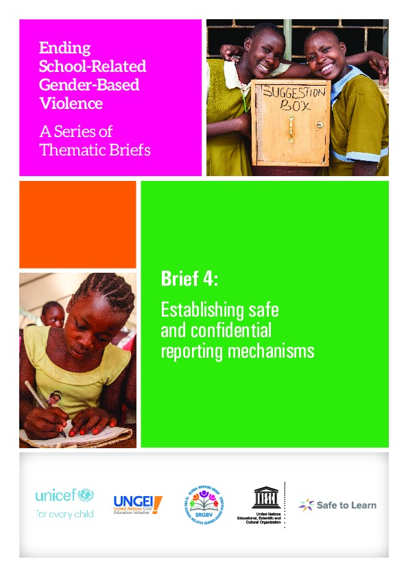 Brief 4: Establishing safe and confidential reporting mechanisms