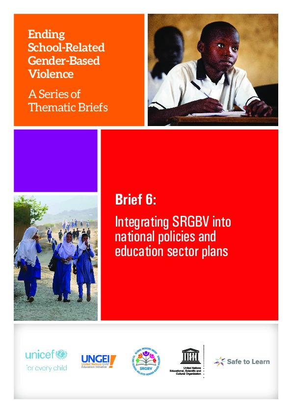 Brief 6: Integrating SRGBV into national policies and education sector plans