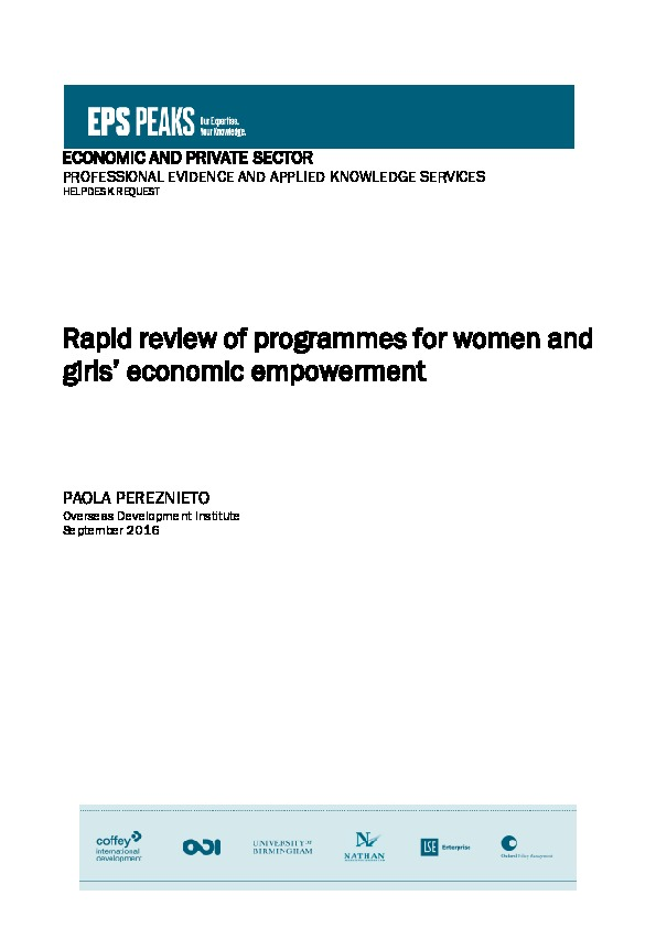 Rapid review of programmes for women and girls' economic empowerment