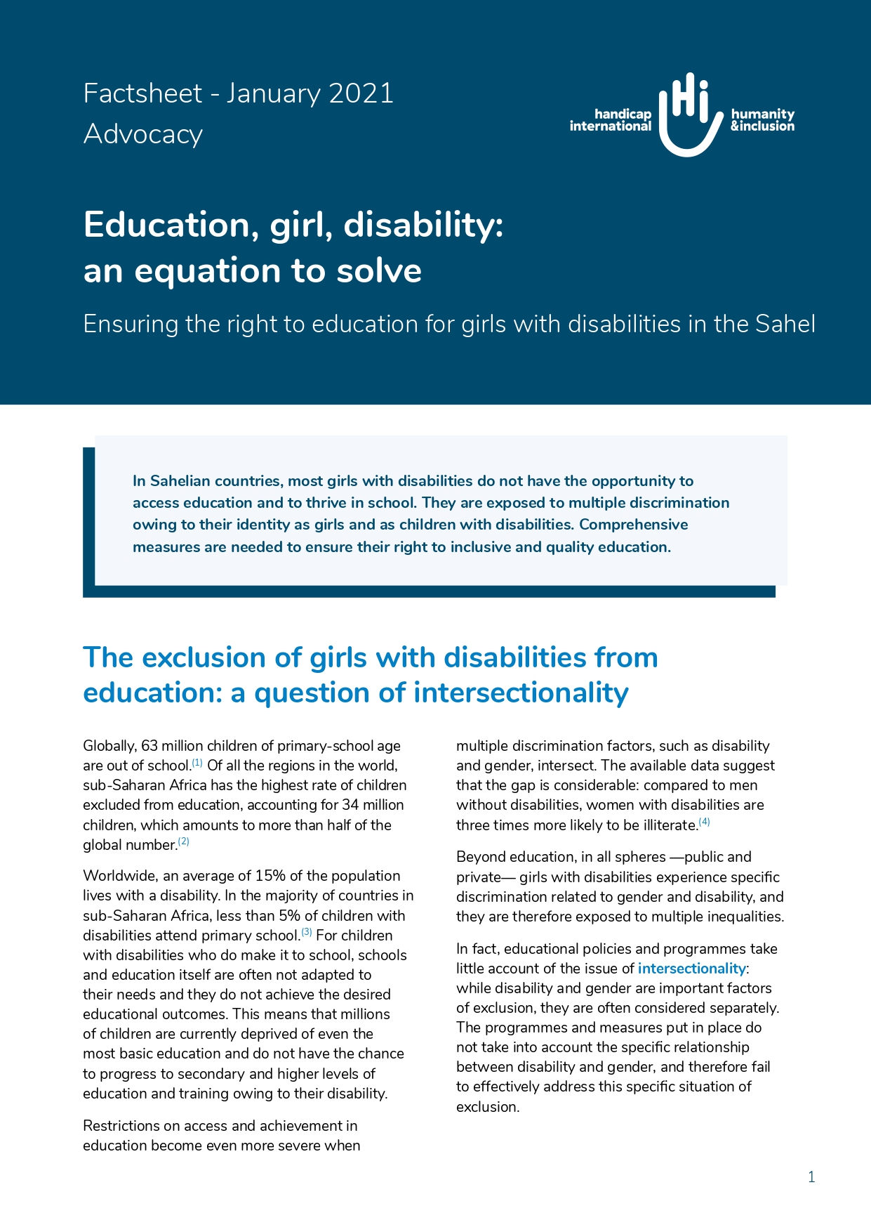 Education, girl, disability: an equation to solve