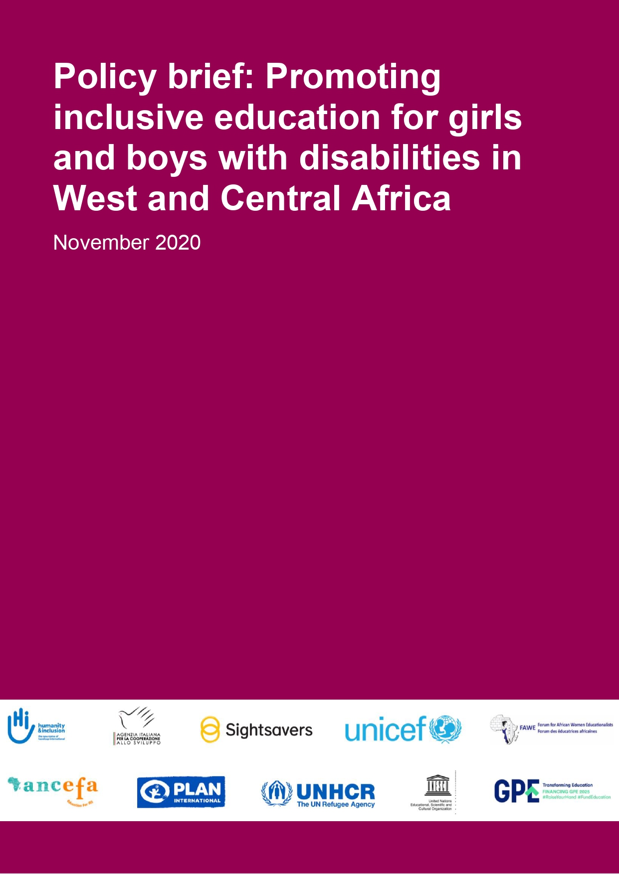 Policy brief: Promoting inclusive education for girls and boys with disabilities in West and Central Africa