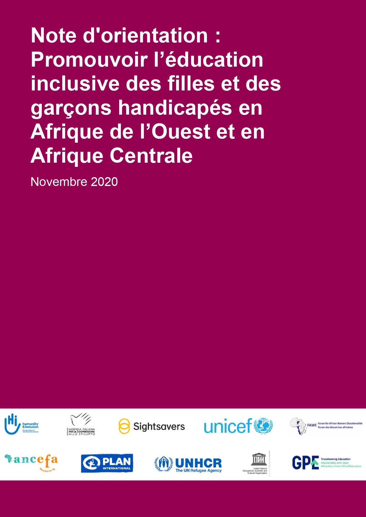 Note d'orientation: Promouvoir l'éducation inclusive des filles et des garçons handicapés en Afrique de l'Ouest et en Afrique Centrale