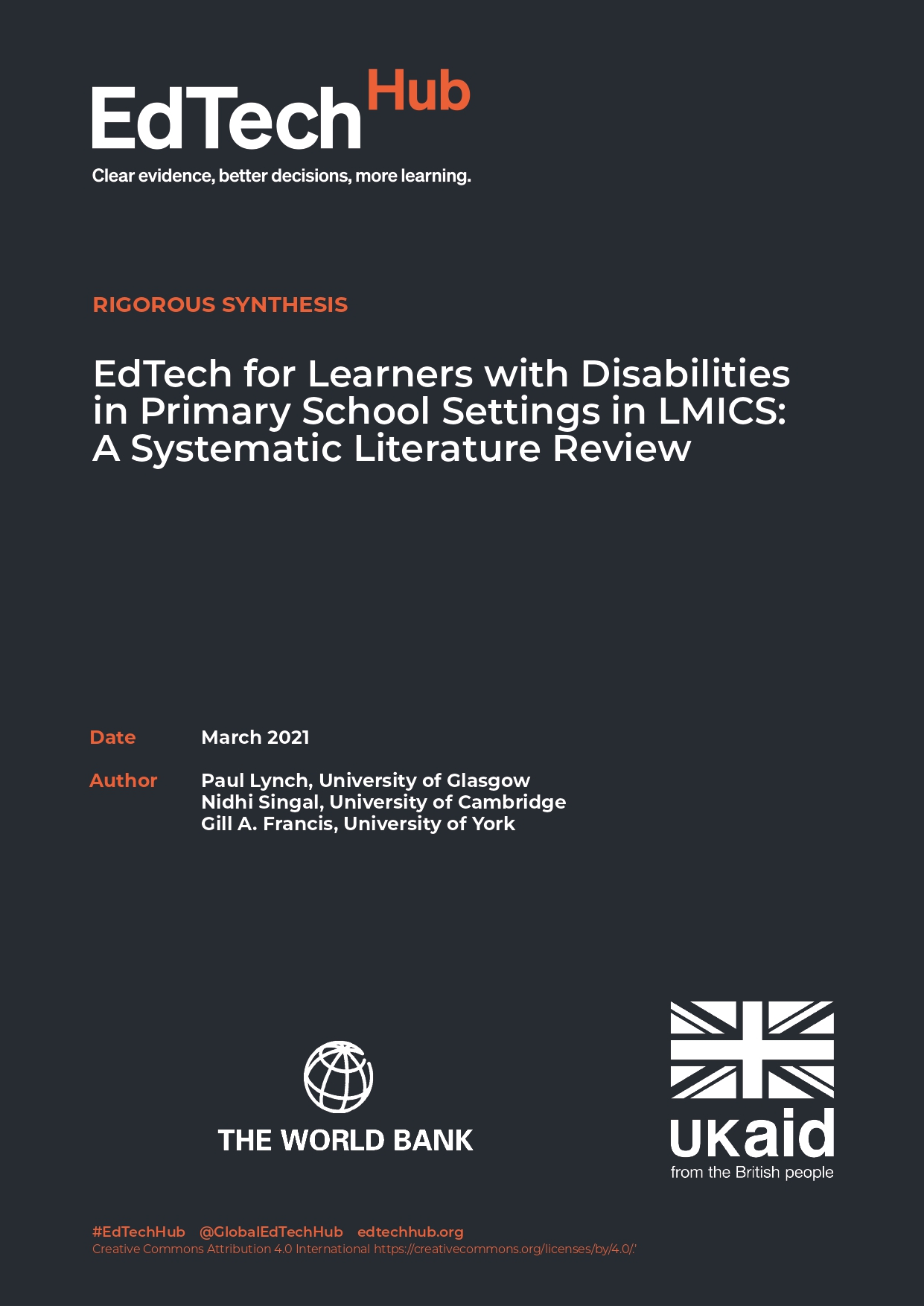 EdTech for Learners with Disabilities in Primary School Settings in LMICS: A Systematic Literature Review