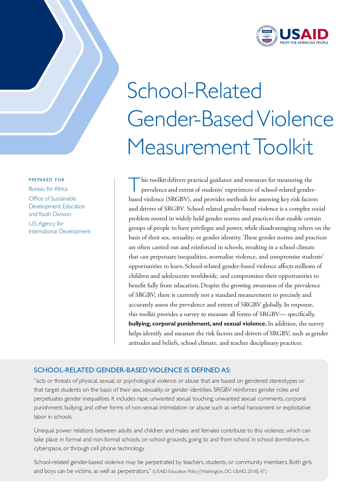 School-Related Gender-Based Violence Measurement Toolkit