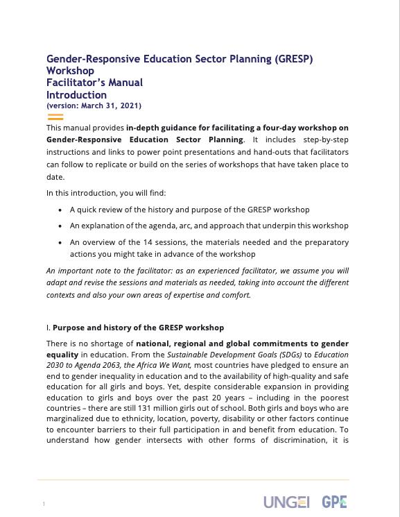 Gender-Responsive Education Sector Planning (GRESP) Workshop