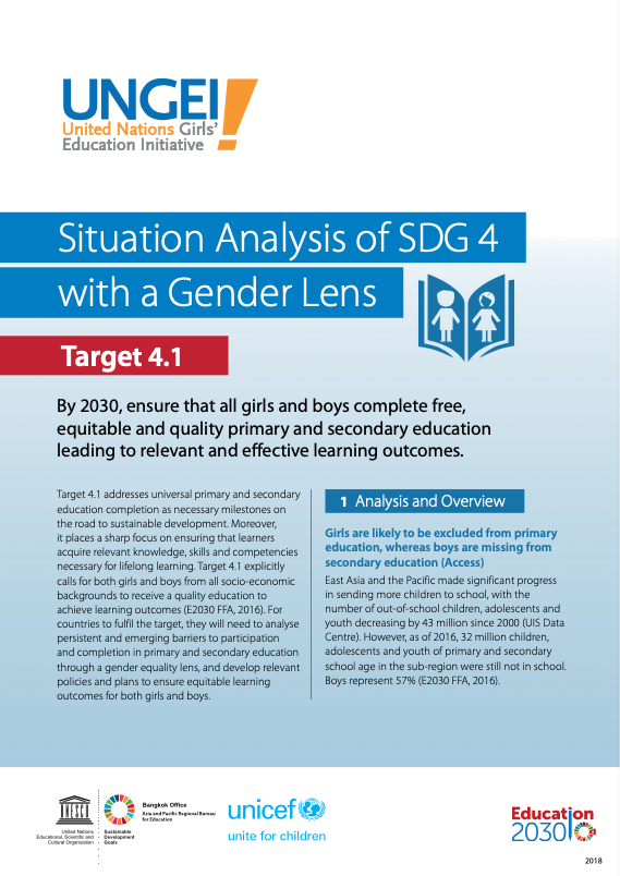 Situation analysis of SDG 4 with a gender lens, Target 4.1