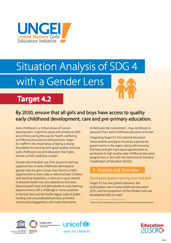 Situation analysis of SDG 4 with a gender lens, Target 4.2