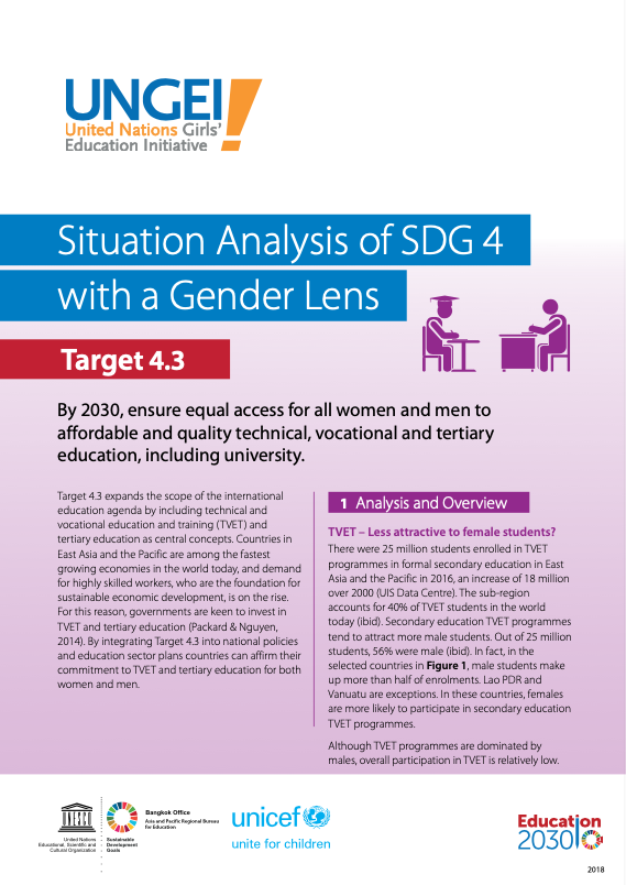 Situation analysis of SDG 4 with a gender lens, Target 4.3