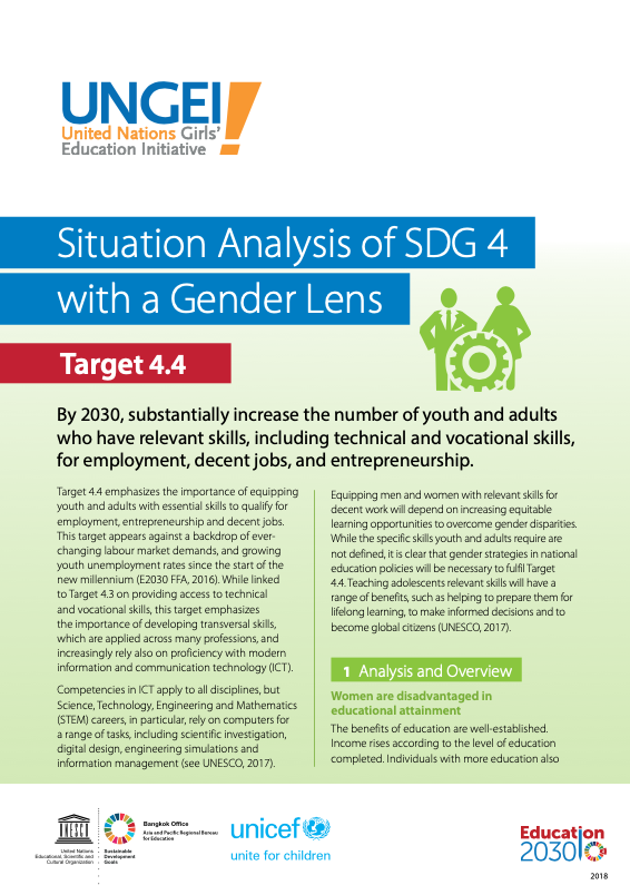 Situation analysis of SDG 4 with a gender lens, Target 4.4