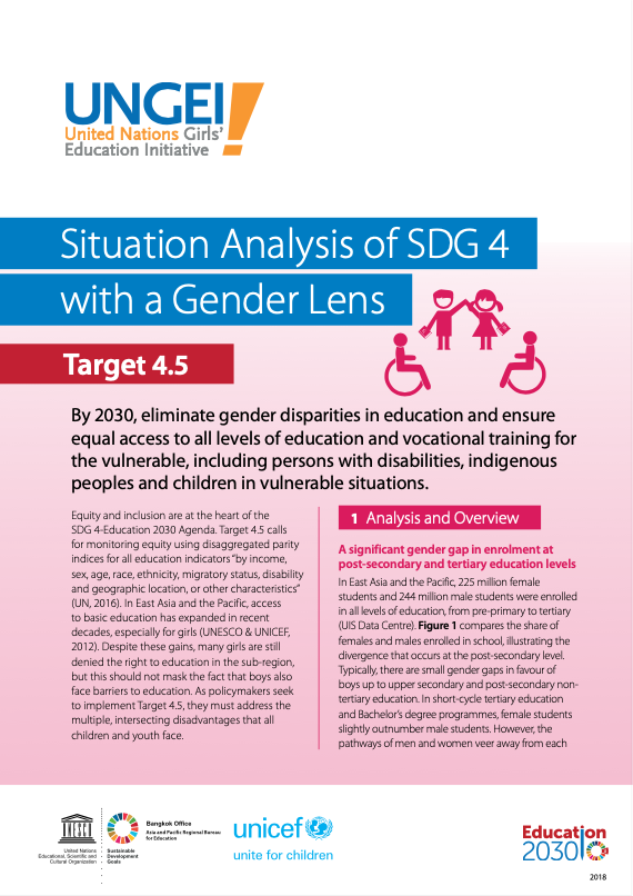 Situation analysis of SDG 4 with a gender lens, Target 4.5