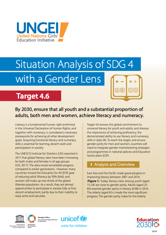 Situation analysis of SDG 4 with a gender lens, Target 4.6