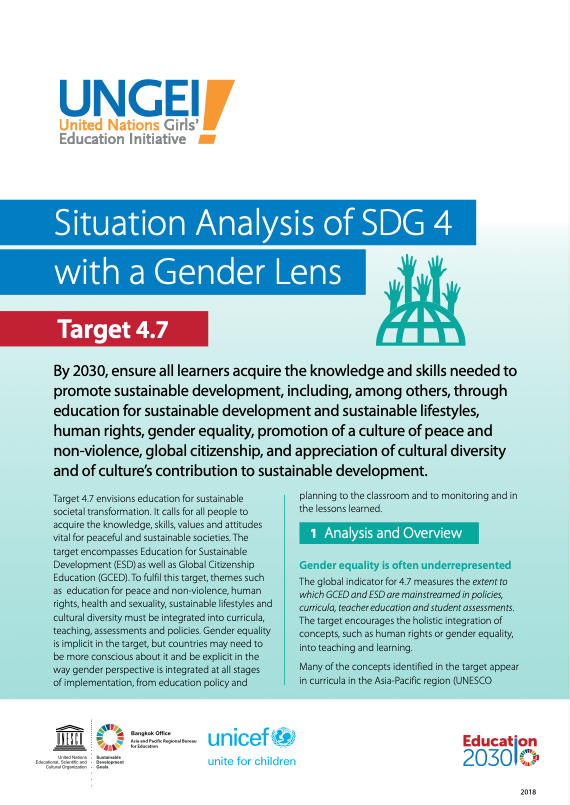 Situation analysis of SDG 4 with a gender lens, Target 4.7
