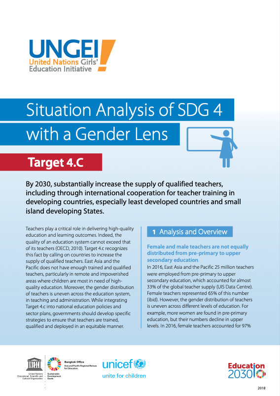 Situation analysis of SDG 4 with a gender lens, Target 4.C