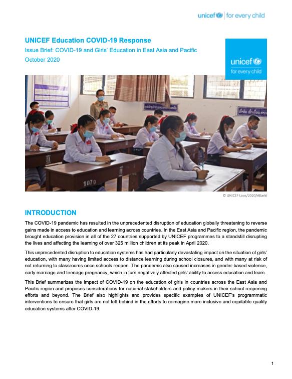 UNICEF Education COVID-19 Response
