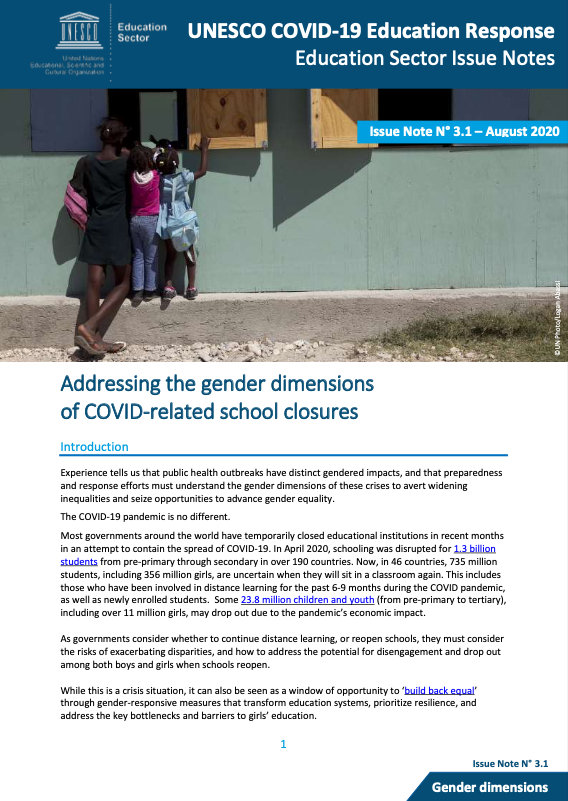 Issue Note: Addressing the gender dimensions of COVID-related school closures
