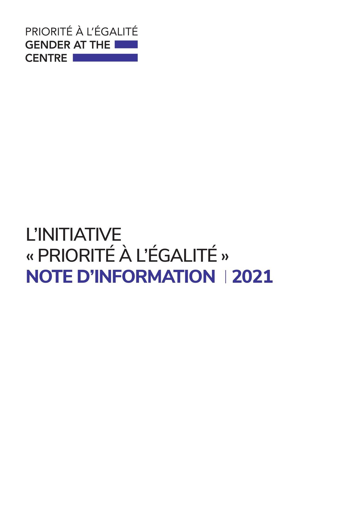 L'INITIATIVE  « PRIORITÉ À L'ÉGALITÉ »  NOTE D'INFORMATION