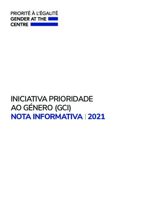 INICIATIVA PRIORIDADE  AO GÉNERO (GCI)  NOTA INFORMATIVA