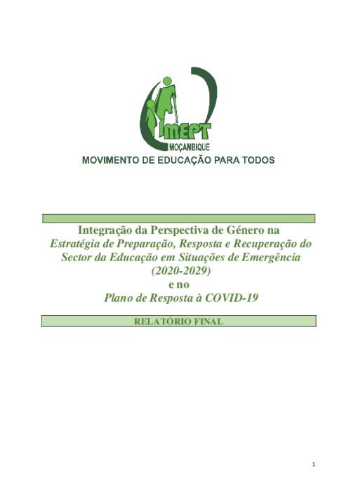 Integração da Perspectiva de Género na Estratégia de Preparação, Resposta e Recuperação do Sector da Educação em Situações de Emergência (2020-2029) e no Plano de Resposta à COVID-19
