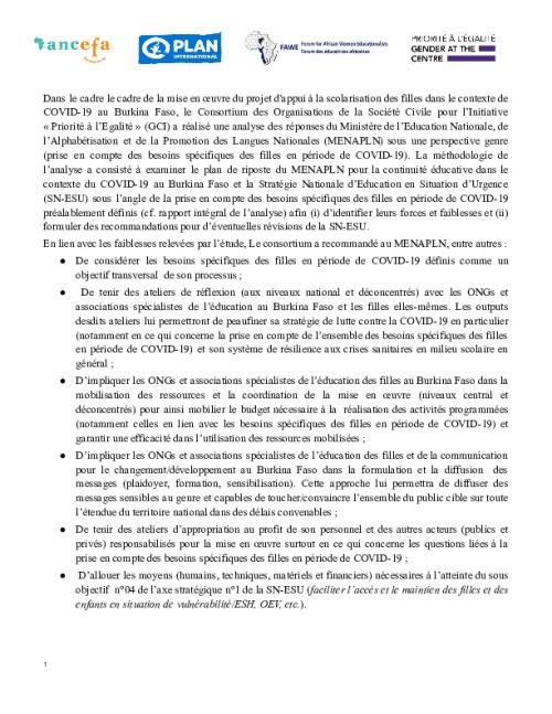 Synthèse: Analyse de genre de la réponse au Covid-19 en éducation au Burkina Faso