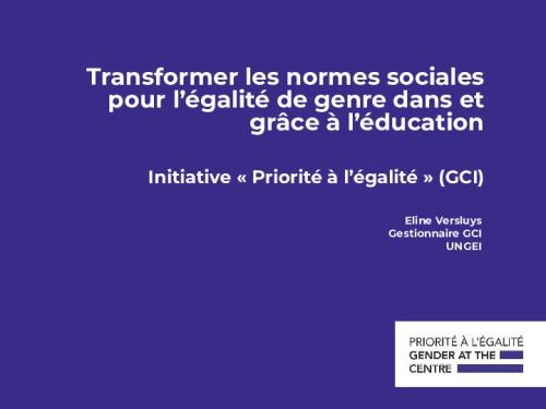 Transformer les normes sociales pour l'égalité de genre dans et grâce à l'éducation