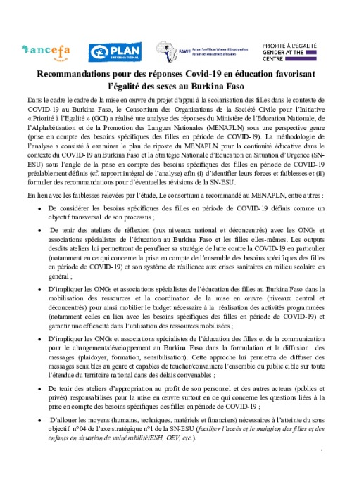 Recommandations pour des réponses Covid-19 en éducation favorisant l'égalité des sexes au Burkina Faso
