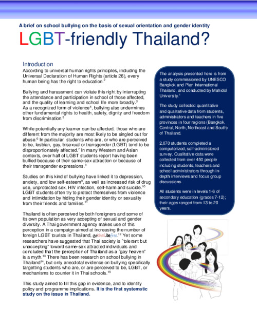 A Brief on school bullying on the basis of sexual orientation and gender identity: LGBT-friendly Thailand?