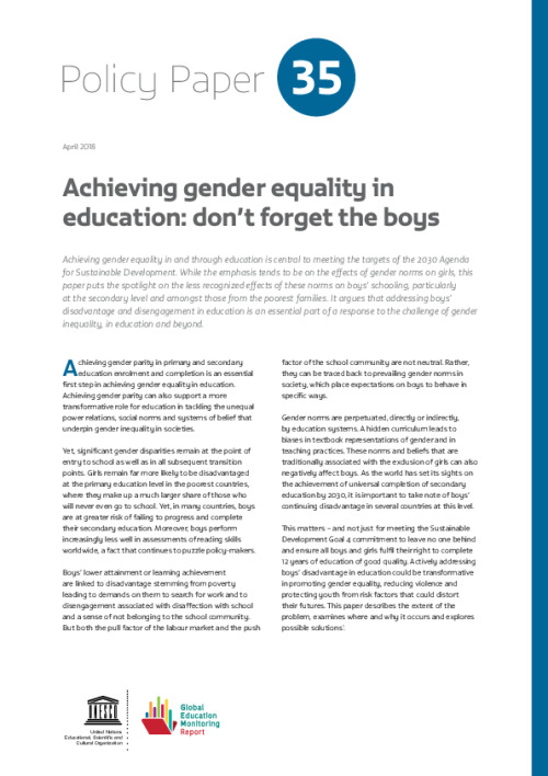 Achieving gender equality in education: Don't forget the boys