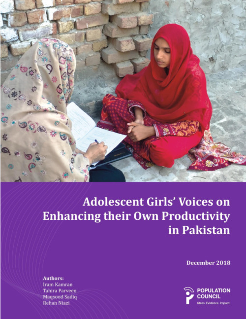 Adolescent Girls' Voices on Enhancing their Own Productivity in Pakistan