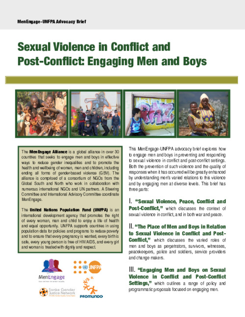 Sexual Violence in Conflict and Post-Conflict