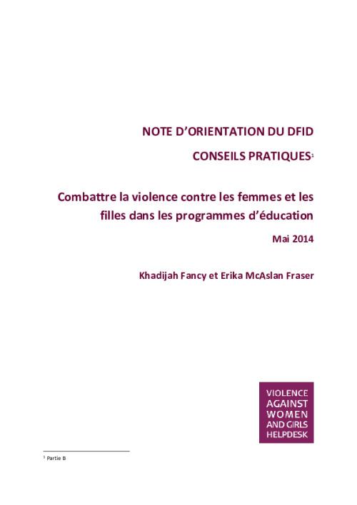 Combattre la violence contre les femmes et les filles (VCFF) dans les programmes d'éducation