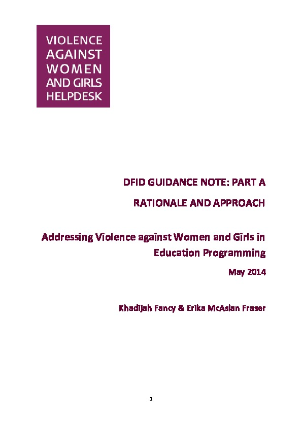 Addressing Violence Against Women and Girls (VAWG) in Education Programmes