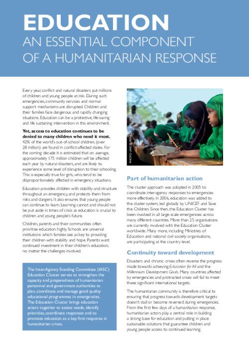 Education: An Essential Component of Humanitarian Response