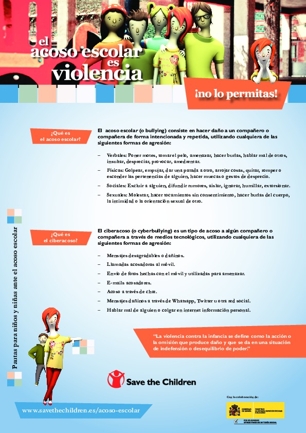El acoso escolar es violencia. ¡No lo permitas! Consejos para niños y niñas ante el acoso escolar