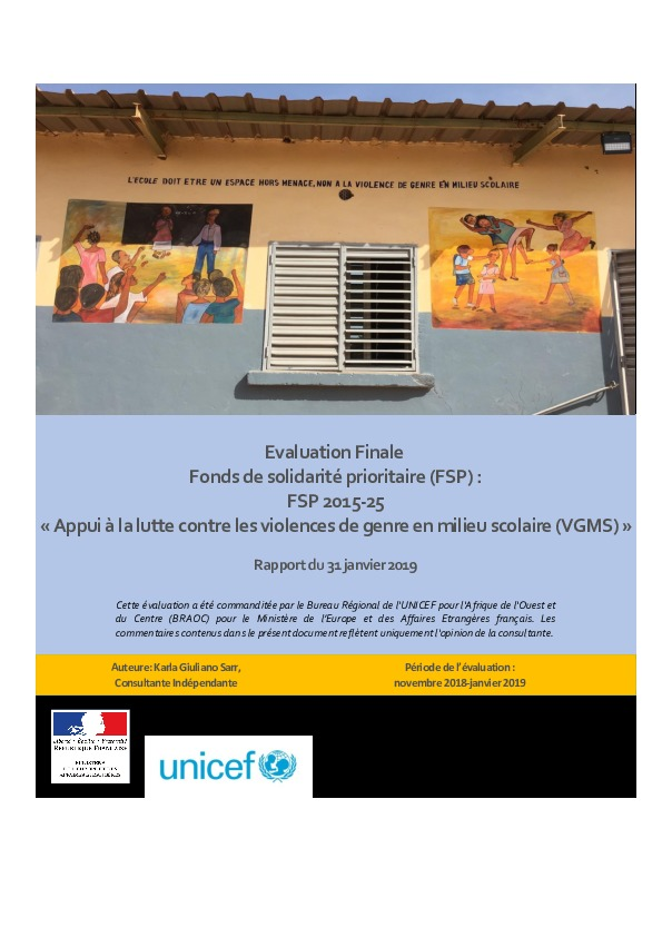 Evaluation Finale - Fonds de solidarité prioritaire 2015-25