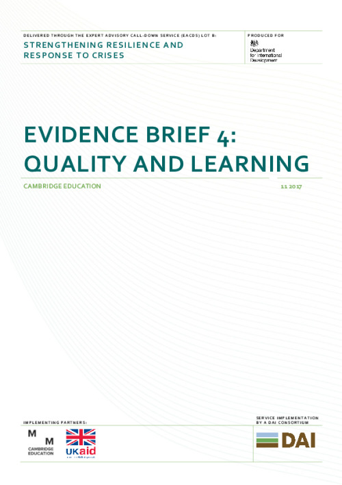 Evidence brief 4: Quality and learning