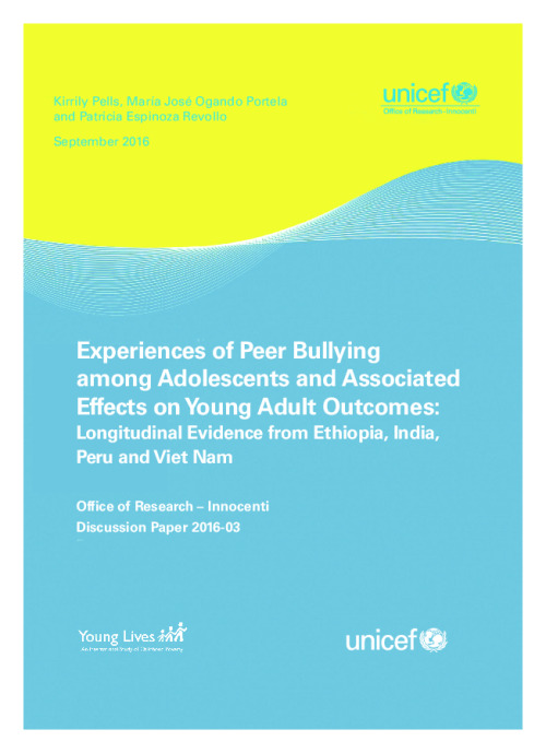 Experiences of Peer Bullying among Adolescents and Associated Effects on Young Adult Outcomes