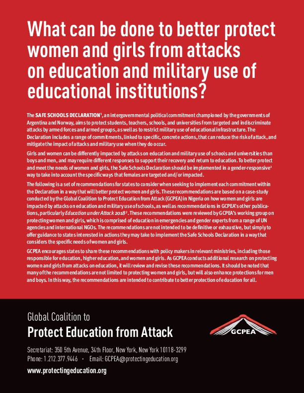 """What can be done to better protect women and girls from attacks on education and military use of educational institutions?"""