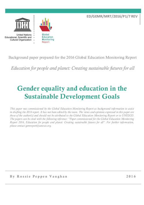 Gender equality and education in the Sustainable Development Goals