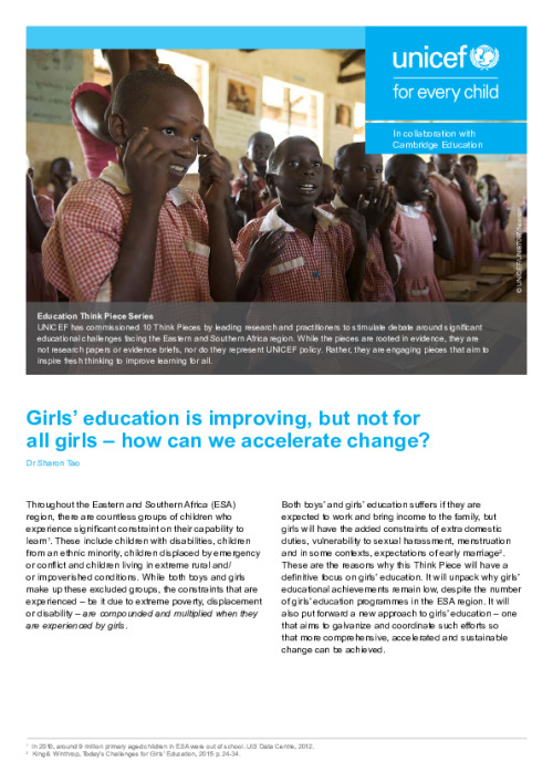 Girls' education is improving, but not for all girls – how can we accelerate change?