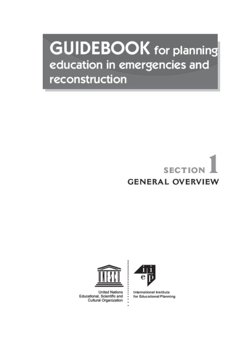 Guidebook for Planning Education in Emergencies and Reconstruction