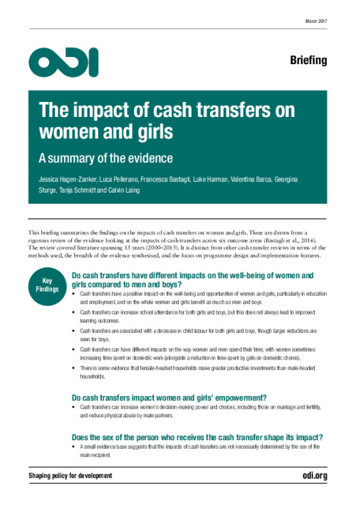 The impact of cash transfers on women and girls