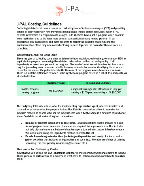 J-PAL Costing Guidelines