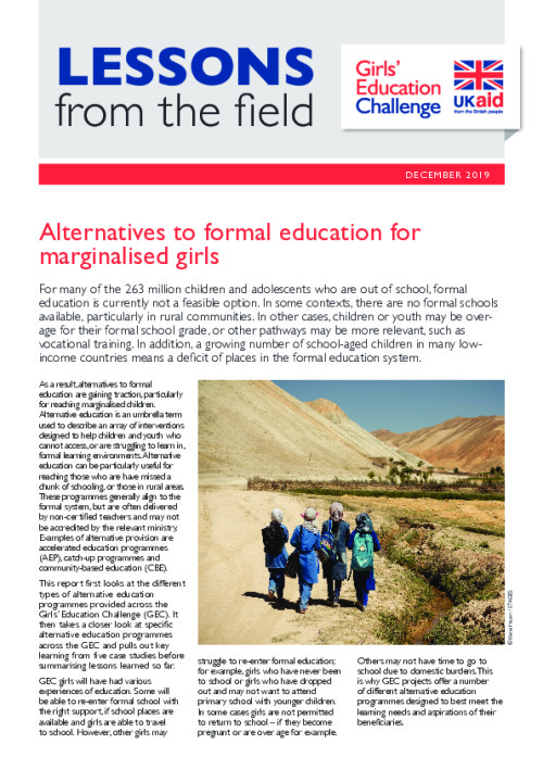 DFID Girls' Education Challenge Lessons from the Field