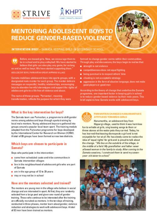 Mentoring adolescent boys to reduce gender-based violence