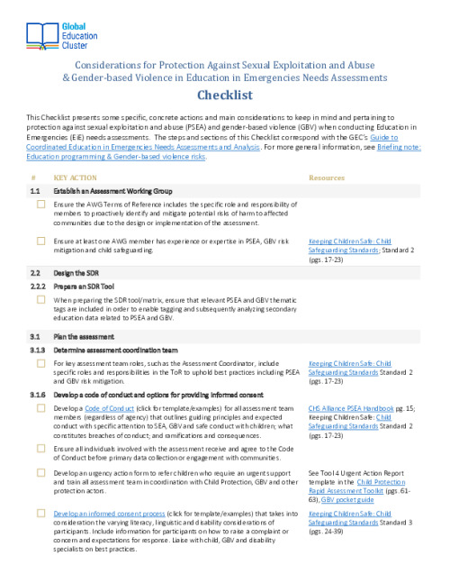 Considerations for Protection against Sexual Exploitation and Abuse and Gender-based Violence in Education in Emergencies Needs Assessment Checklist