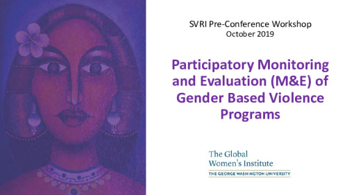 Participatory Monitoring and Evaluation (M&E) of Gender-Based Violence Programs