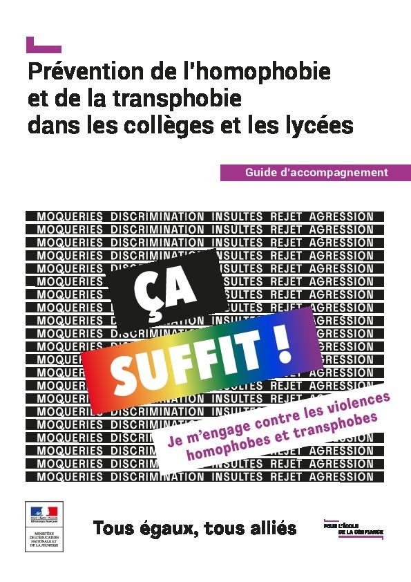 Prévention de l'homophobie et de la transphobie dans les collèges et les lycées. Guide d'accompagnement